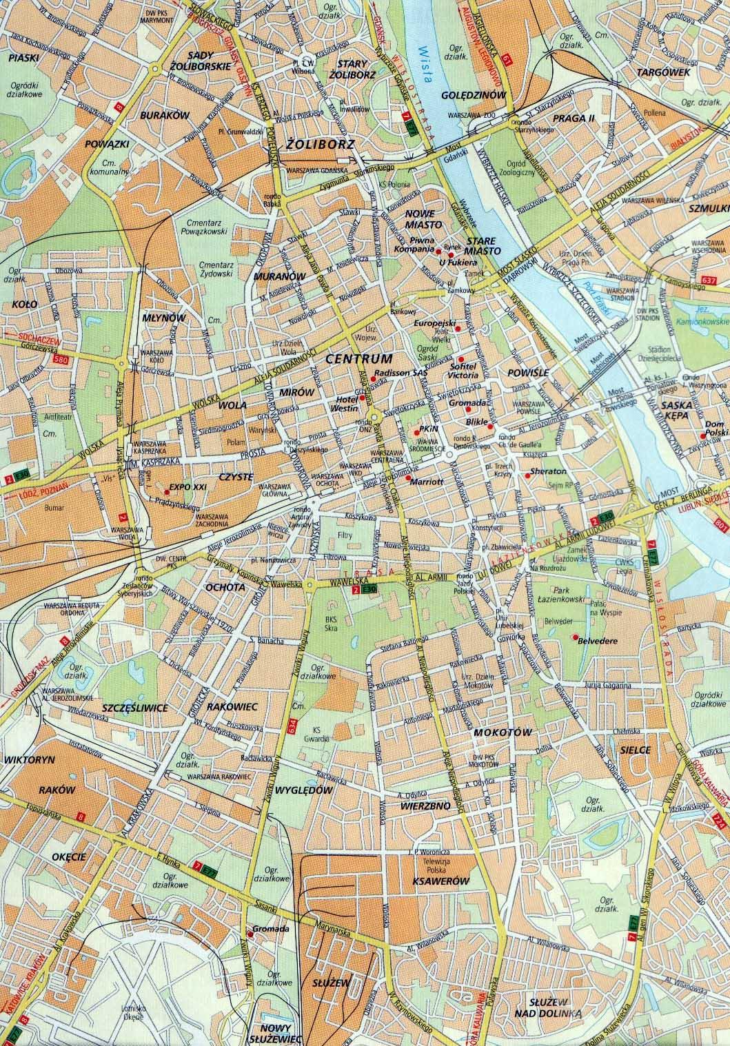 карта варшавы с улицами и районами звонить Продажа